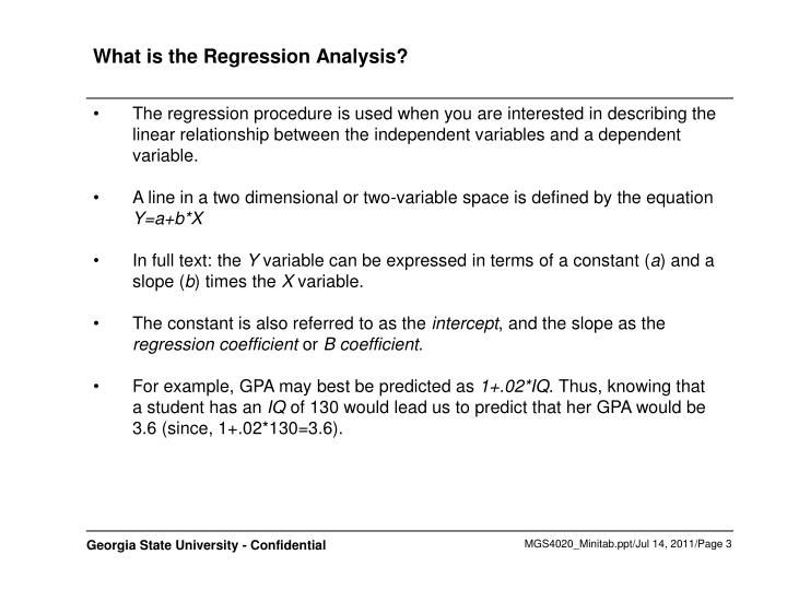 What is the regression analysis