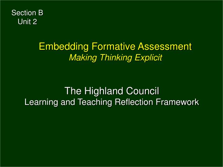 the highland council learning and teaching reflection framework n.