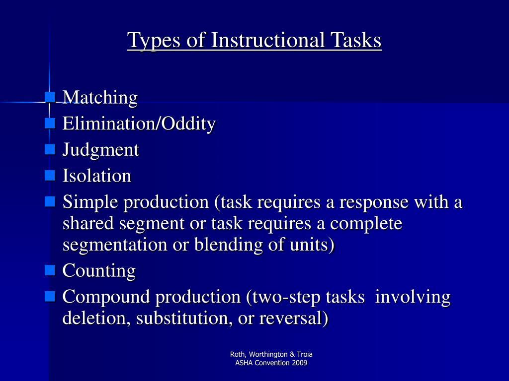 Types of Instructional Tasks