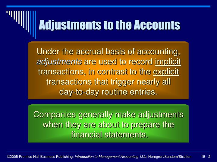 adjusting accounting entries essay An adjusting entry to enter accrued gross increases the gross history and the histories receivable history by the sum of the sale  (  keythman  )  the adjusted test balance studies all of the balances in the general leger after the end-of-period adjusting entries have been made and posted.