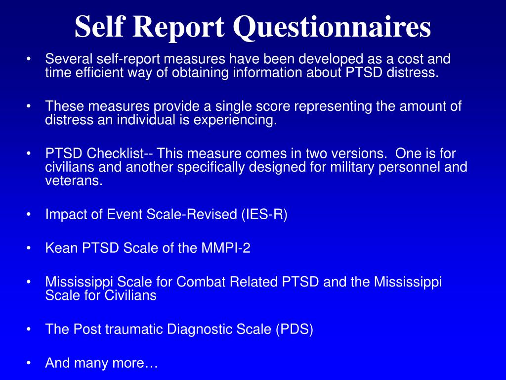 Self Report Questionnaires