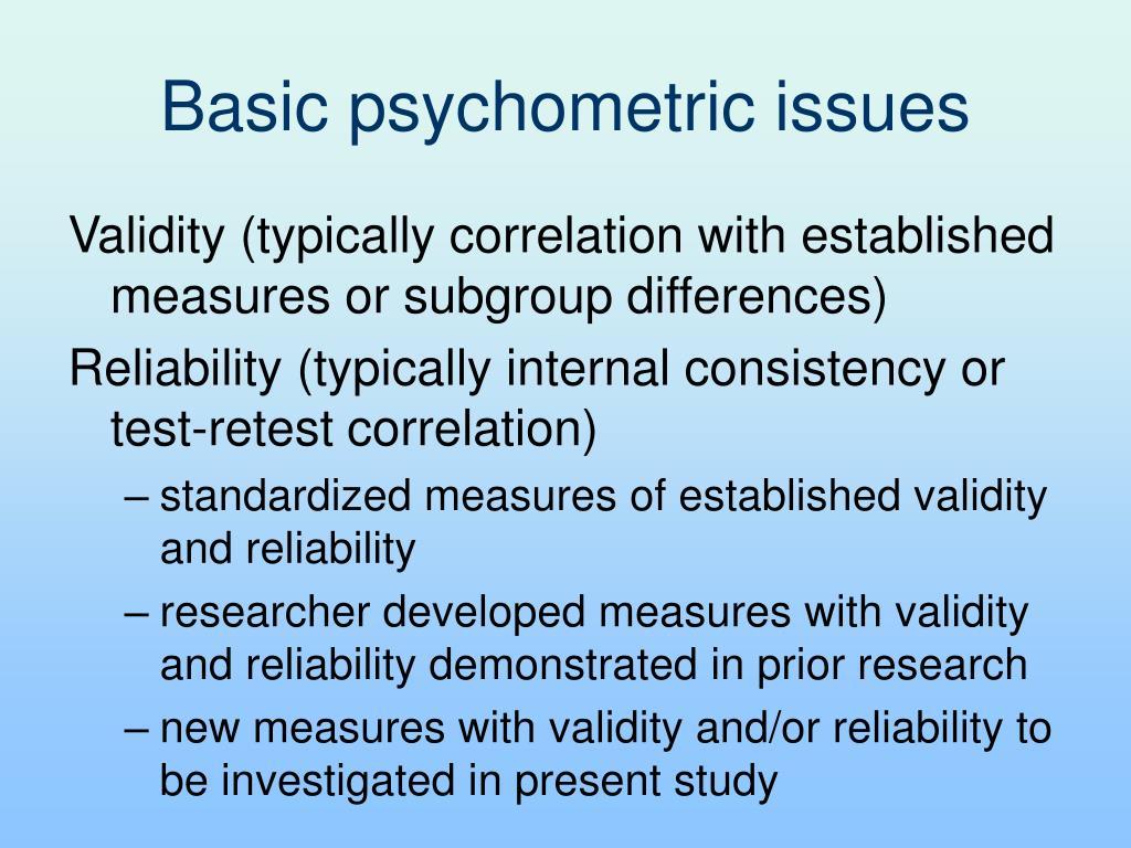 Basic psychometric issues