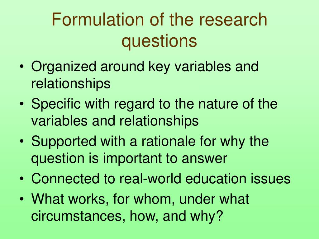 Formulation of the research questions