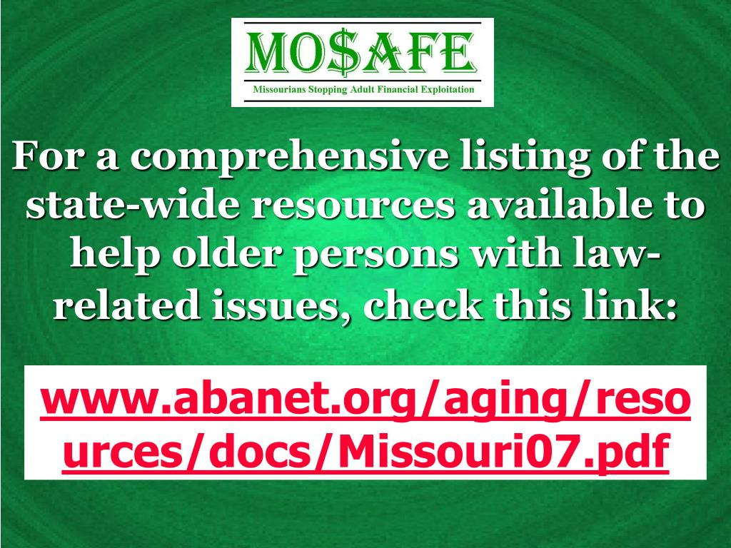 For a comprehensive listing of the state-wide resources available to help older persons with law-related issues, check this link: