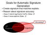 goals for automatic signature generation