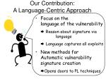 our contribution a language centric approach