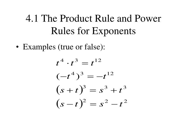 Ppt 41 The Product Rule And Power Rules For Exponents Powerpoint