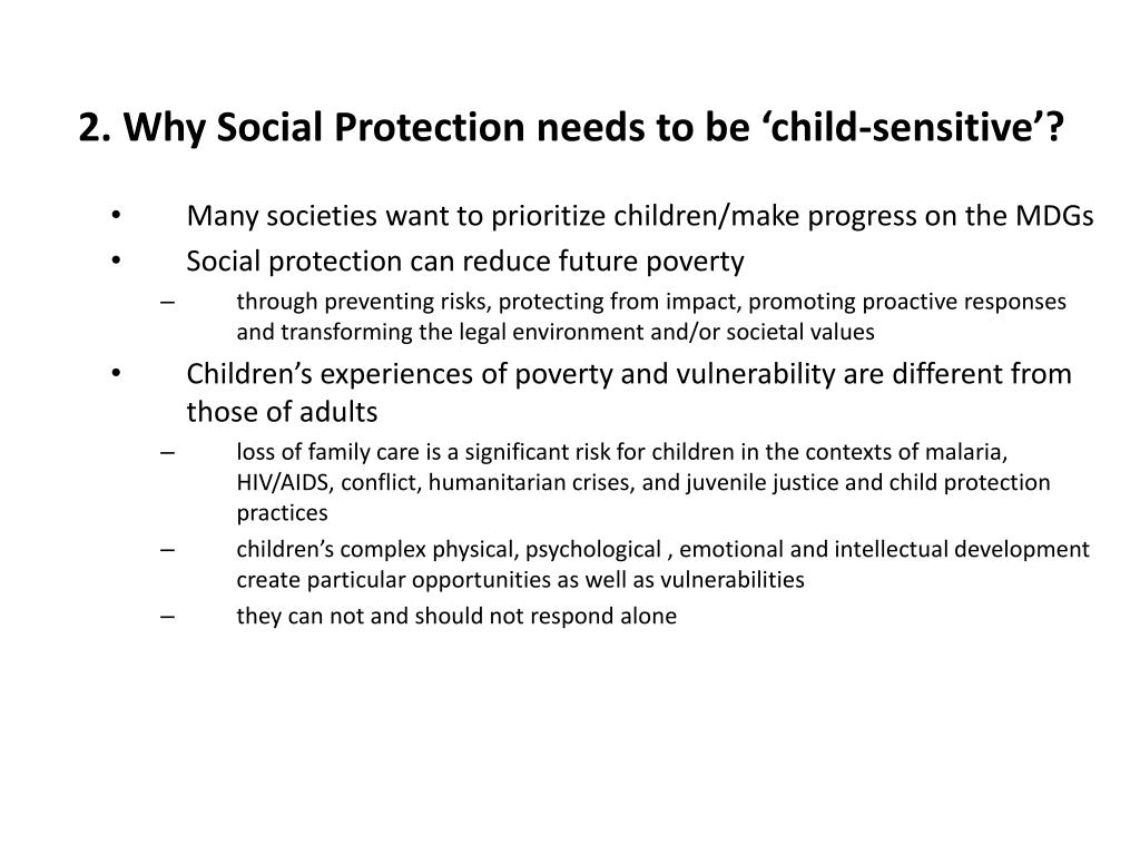 2. Why Social Protection needs to be 'child-sensitive'?