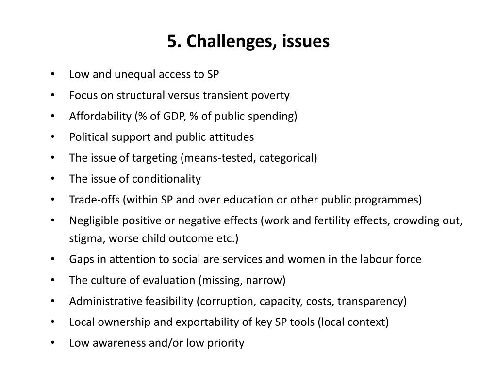 5. Challenges, issues