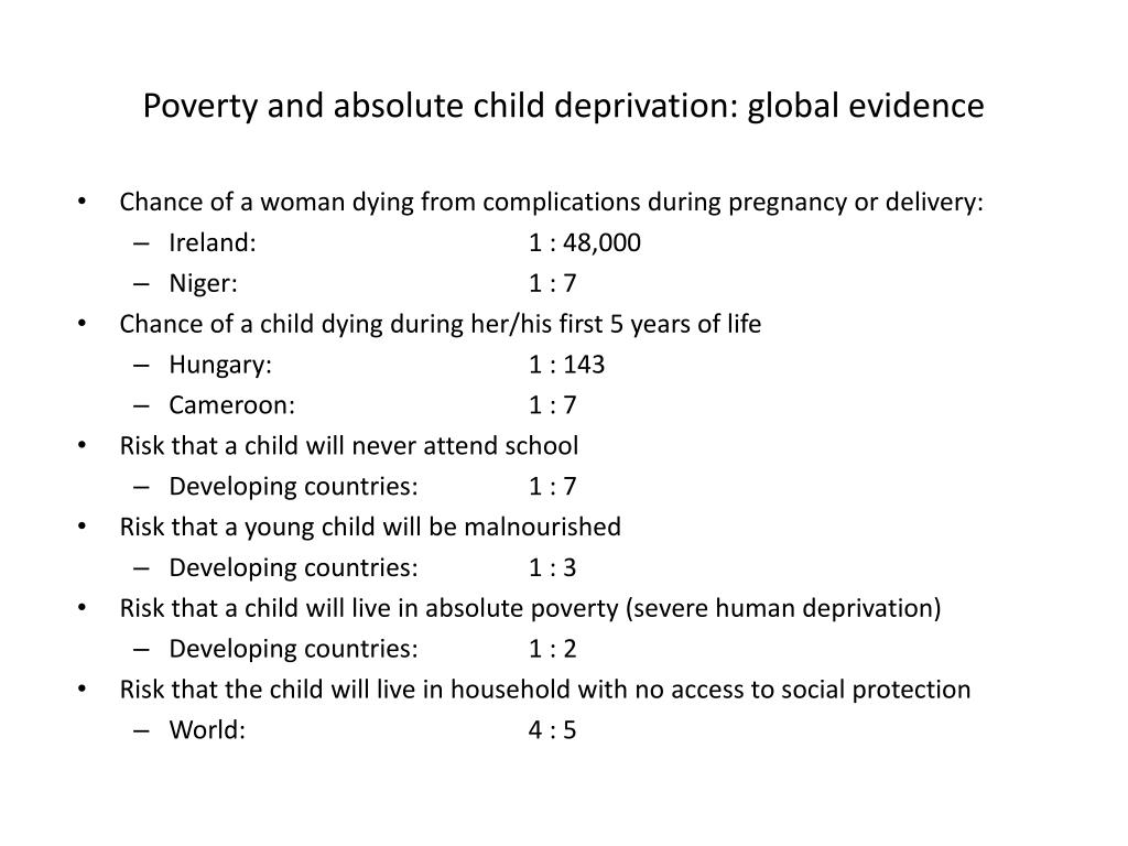 Poverty and absolute child deprivation: global evidence