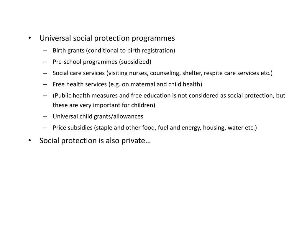 Universal social protection programmes