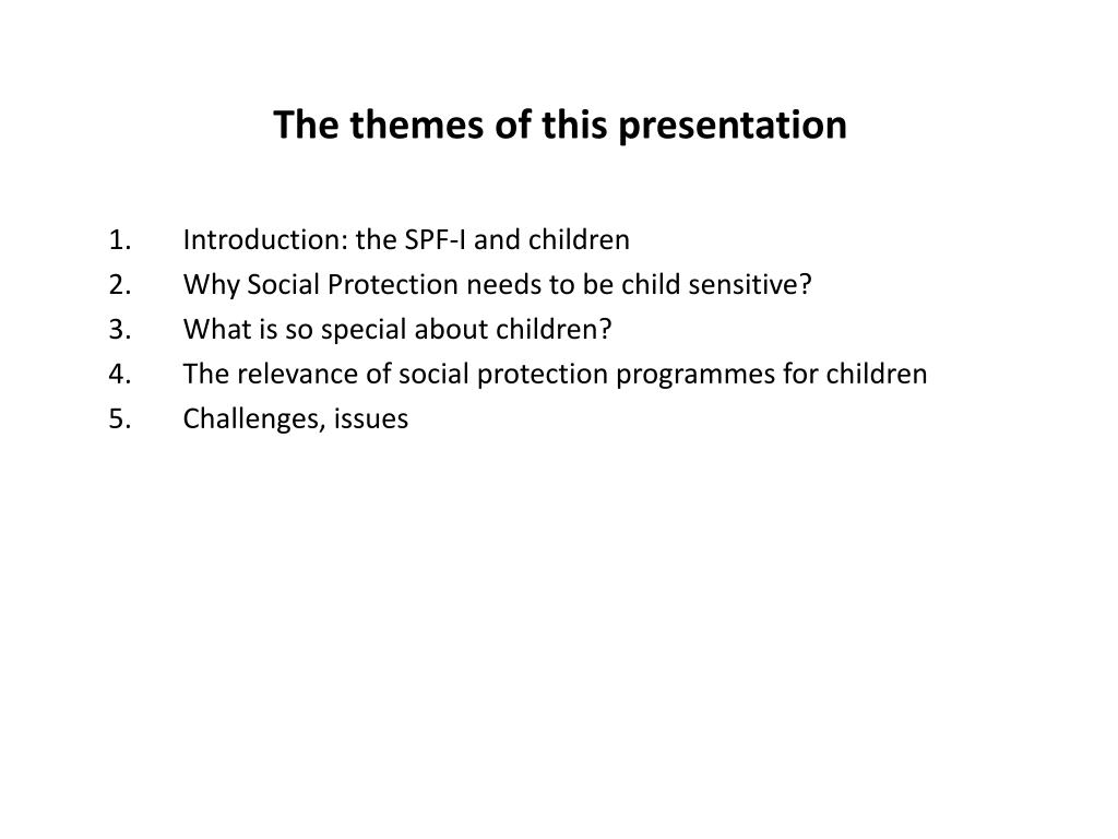 The themes of this presentation