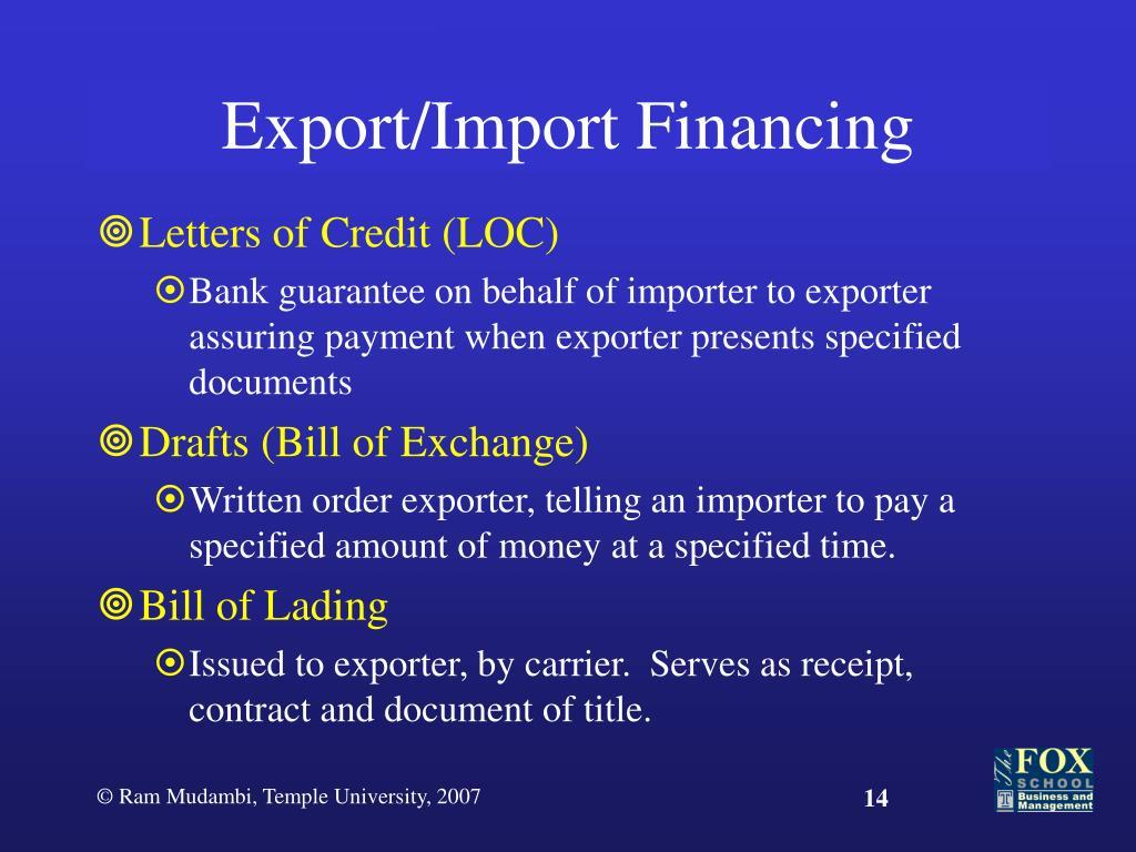 Export/Import Financing