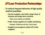 jit lean production partnerships