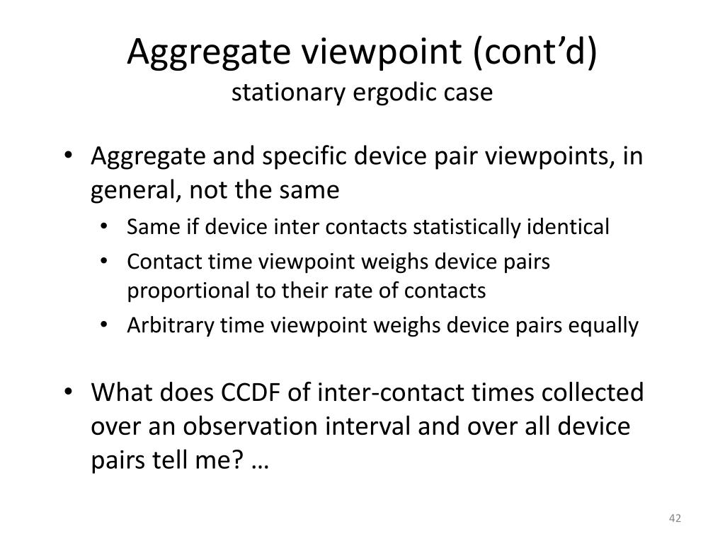 Aggregate viewpoint (cont'd)