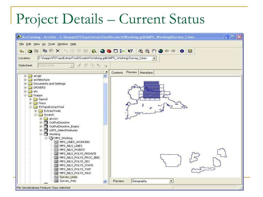 Project Details – Current Status