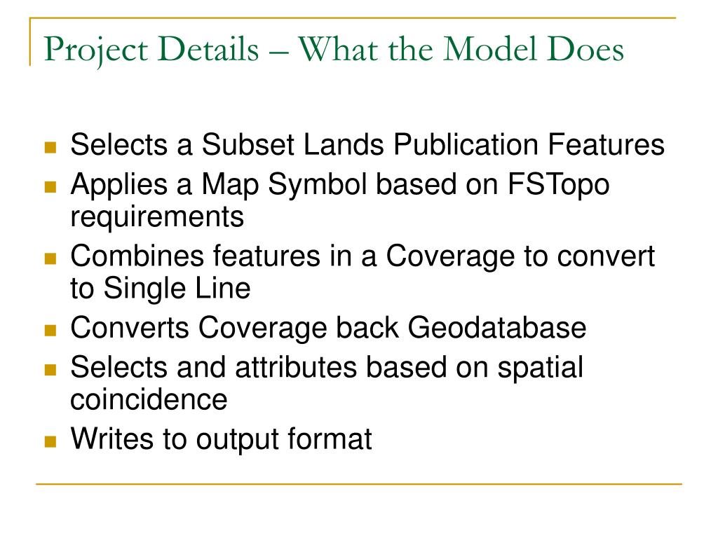 Project Details – What the Model Does