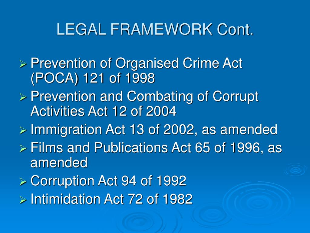 LEGAL FRAMEWORK Cont.