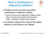 who is unaffected or helped by inflation