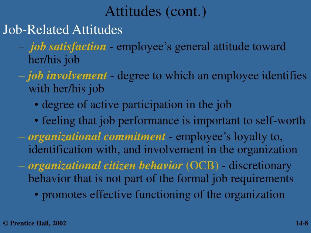Attitudes (cont.)