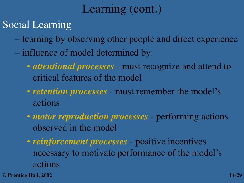 Learning (cont.)