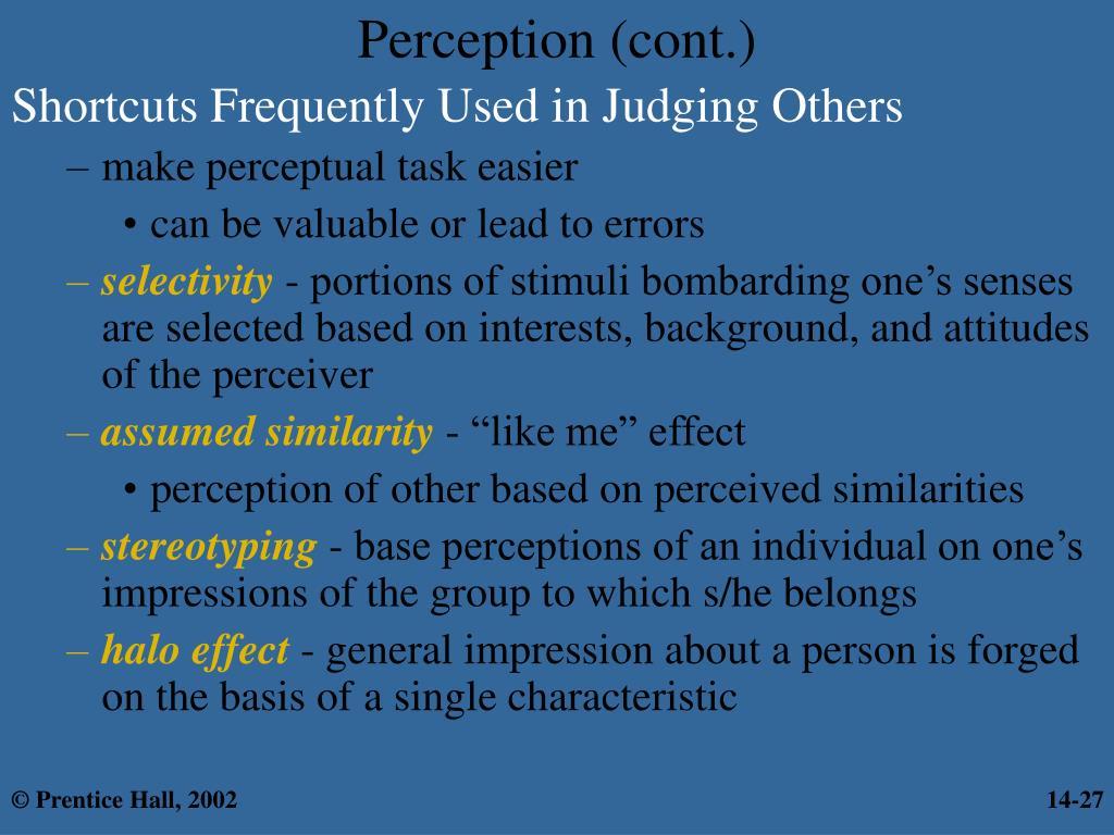 Perception (cont.)