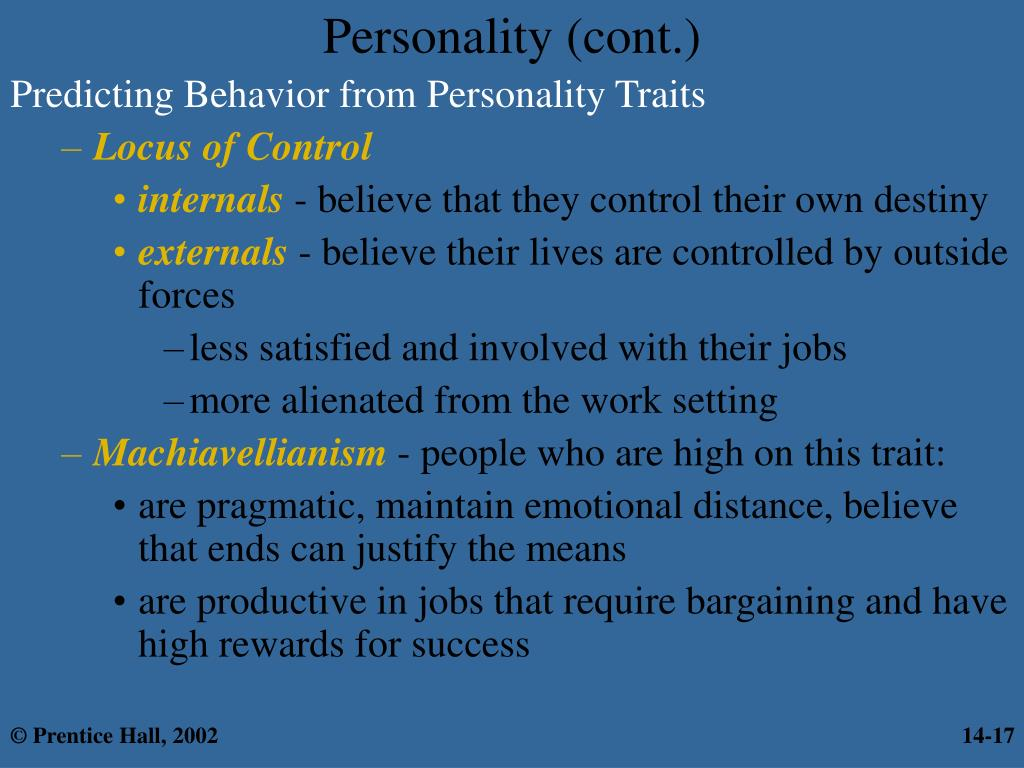 Personality (cont.)