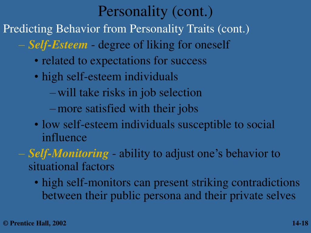 Predicting Behavior from Personality Traits (cont.)