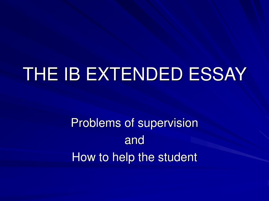 ib extended essay questions The extended essay is an ib core requirement, where students explore a subject in depth the subject must relate to one of the courses offered in groups 1 - 6 of the ib diploma programme the extended essay is an opportunity to demonstrate research and writing skills, along with other traits of the ib learner profile.