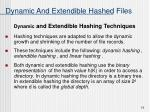 dynamic and extendible hashed files