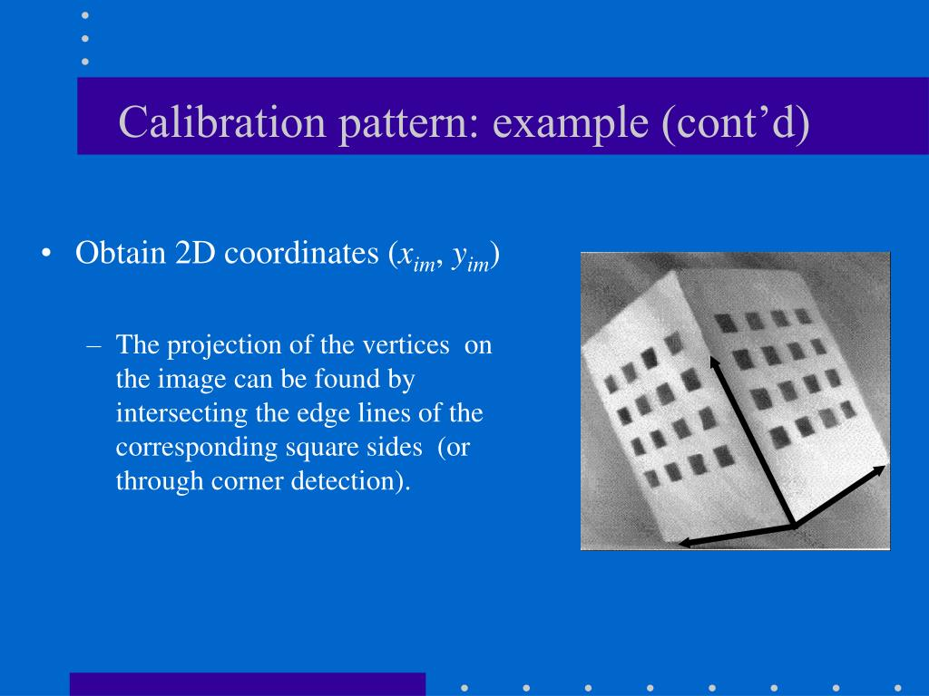 Calibration pattern: example (cont'd)