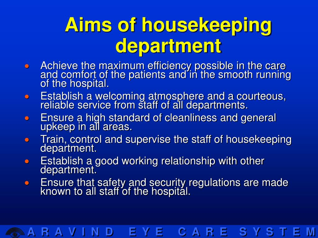 Aims of housekeeping department