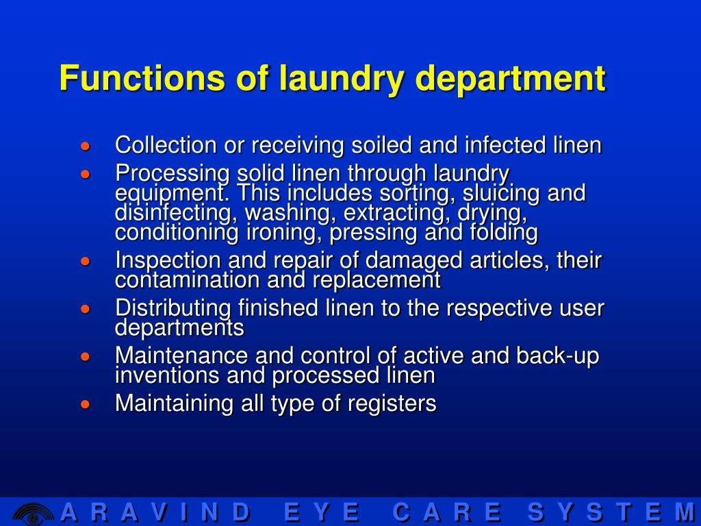 Functions of laundry department