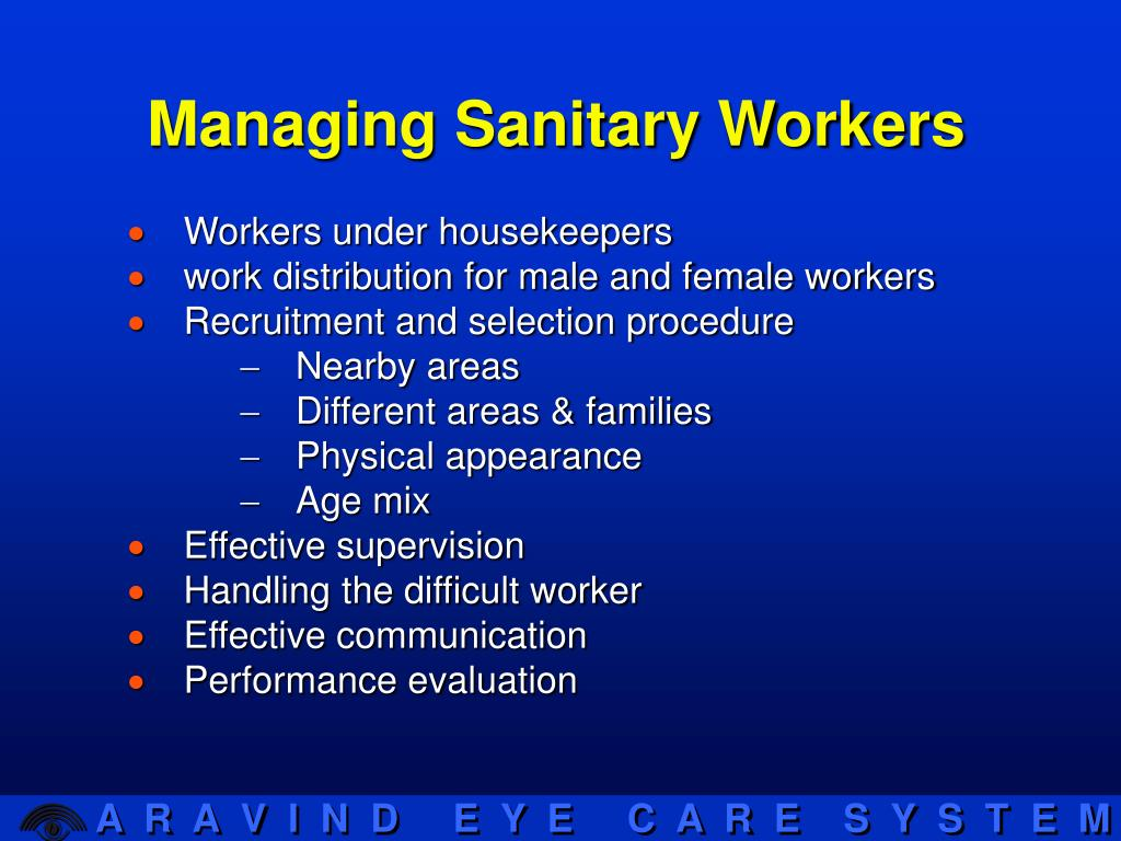 Managing Sanitary Workers