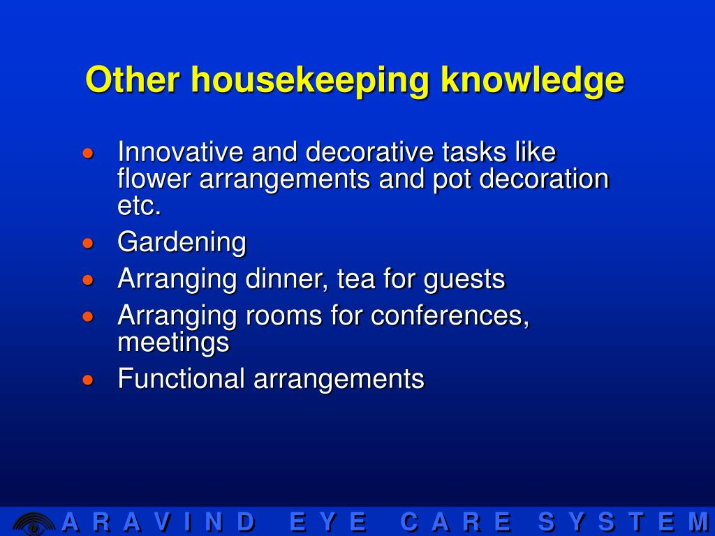 Other housekeeping knowledge