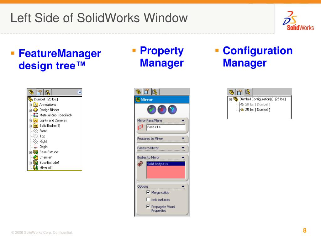 Left Side of SolidWorks Window