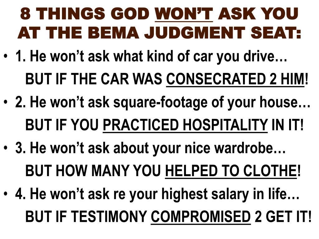 8 THINGS GOD