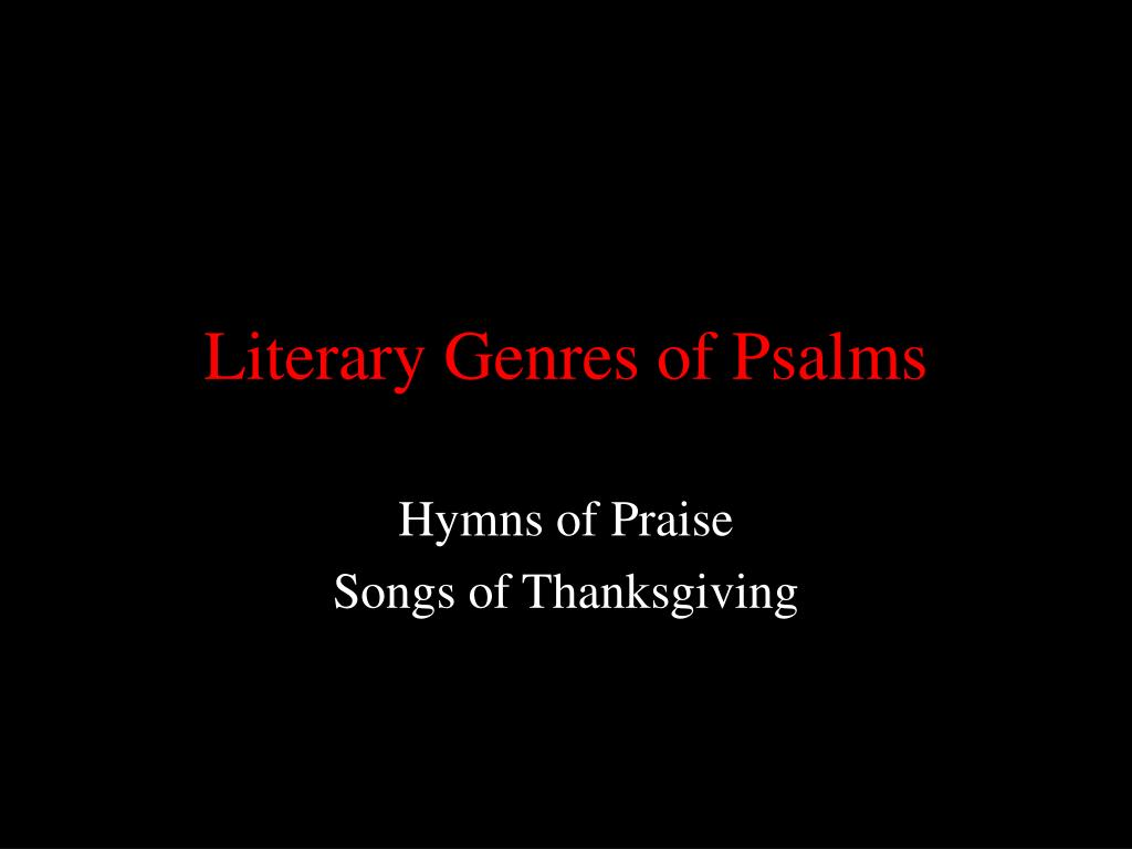 literary genres of psalms l.