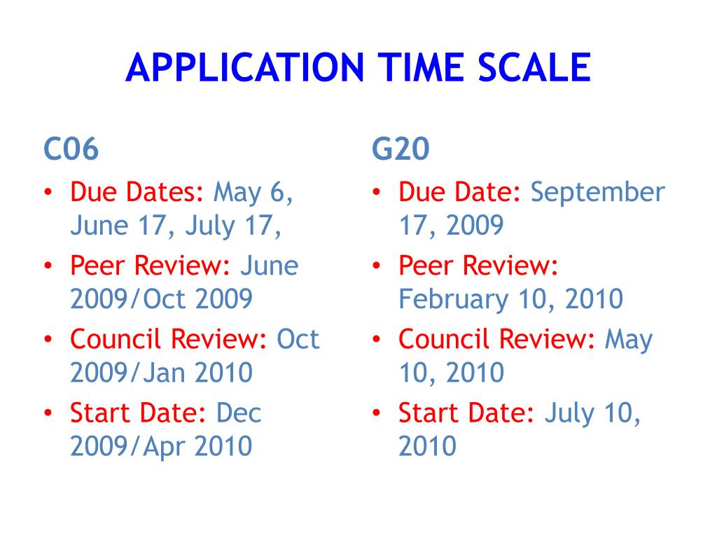 APPLICATION TIME SCALE