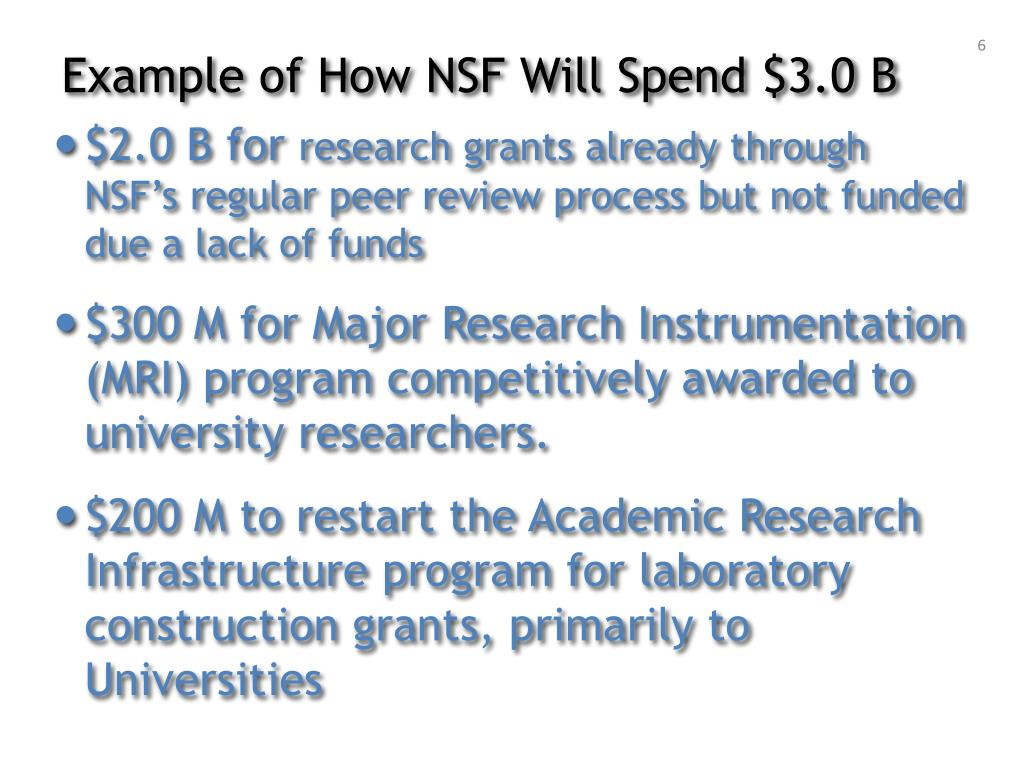 Example of How NSF Will Spend $3.0 B