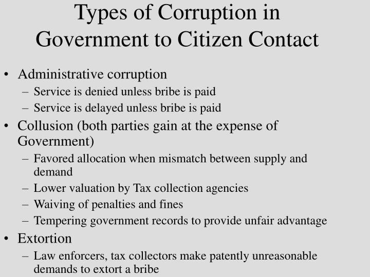 Types of corruption in government to citizen contact