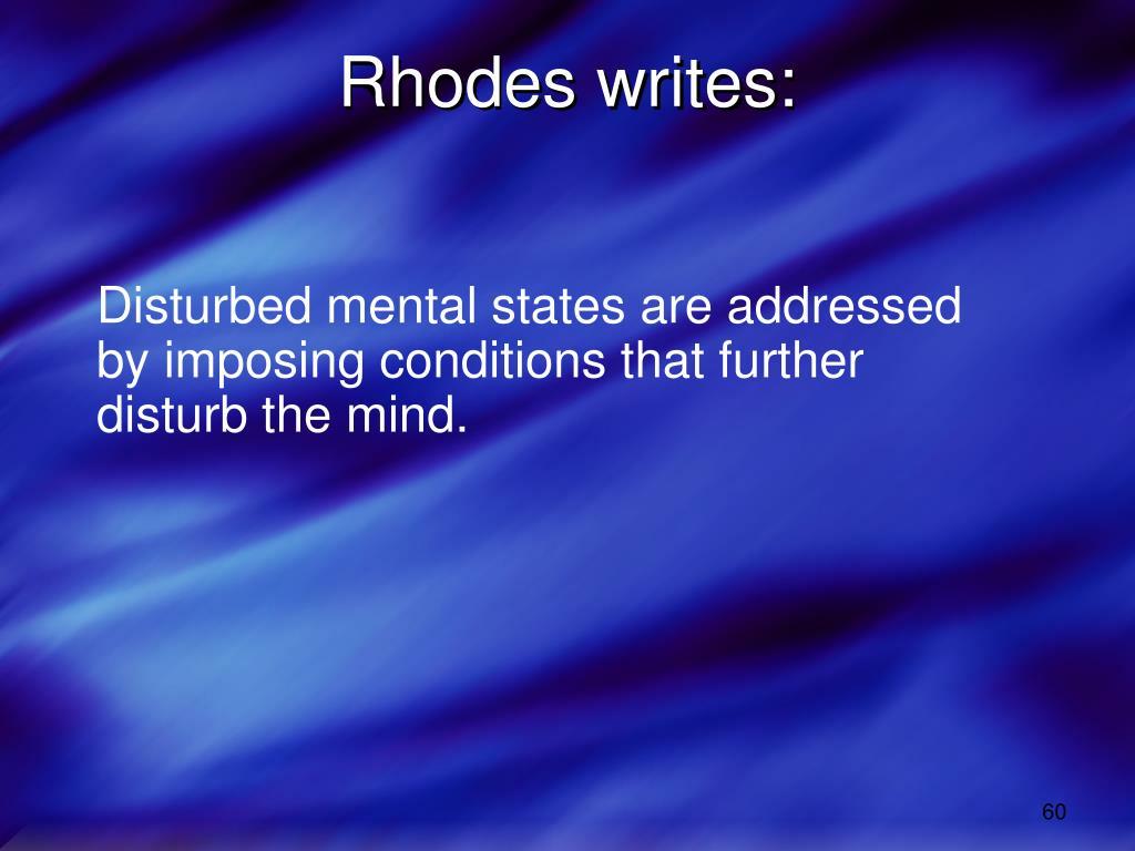 Rhodes writes: