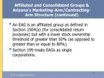 affiliated and consolidated groups arizona s marketing arm contracting arm structure continued