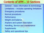 contents of afm 10 sections