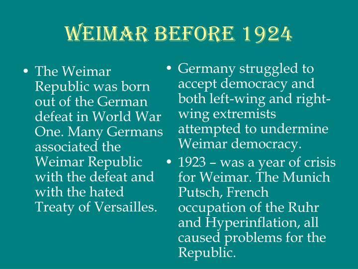 Weimar before 1924
