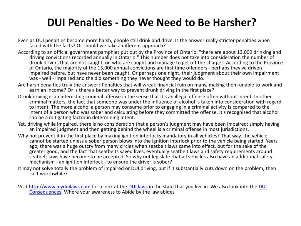 dui penalties do we need to be harsher l.