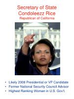 secretary of state condoleezz rice republican of california