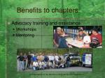 benefits to chapters11