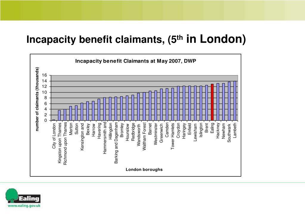 Incapacity benefit claimants, (5