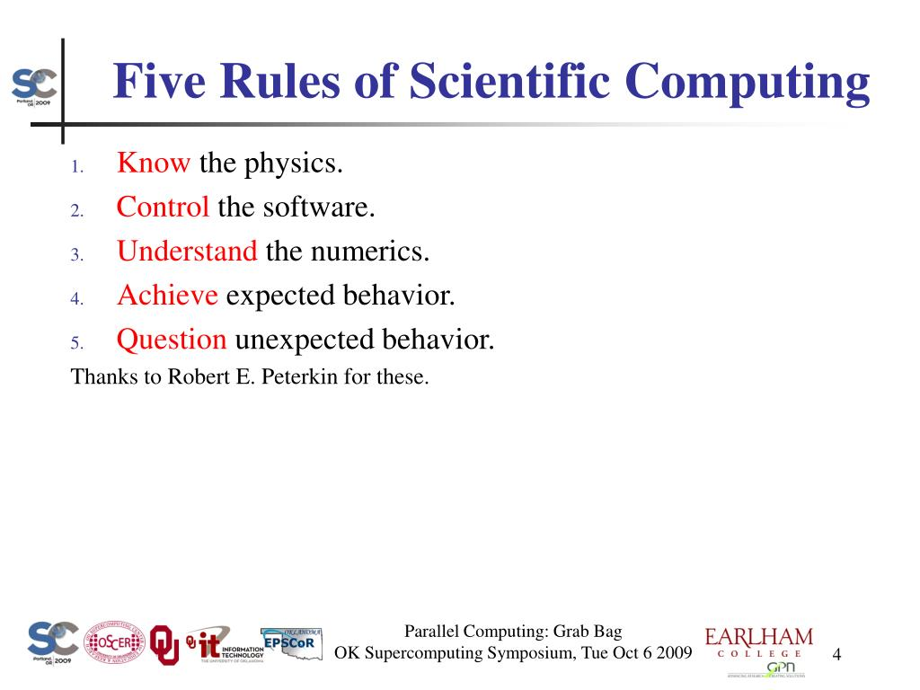 Five Rules of Scientific Computing